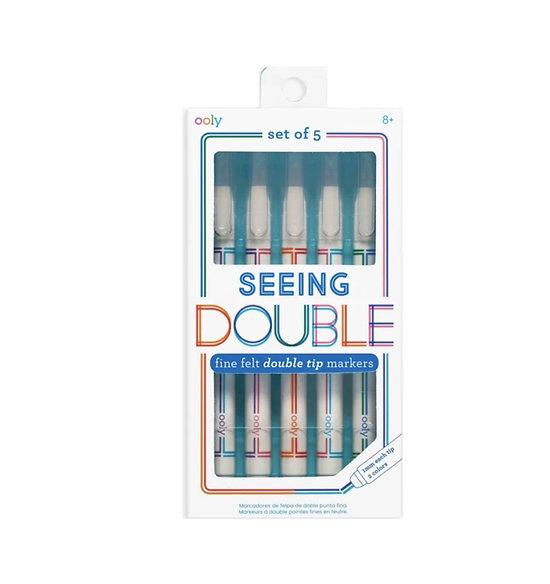 5 stylos feutre double couleur - Je vois double