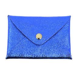 Porte cartes cuir irisé bleu électrique