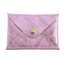 Porte cartes cuir irisé rose