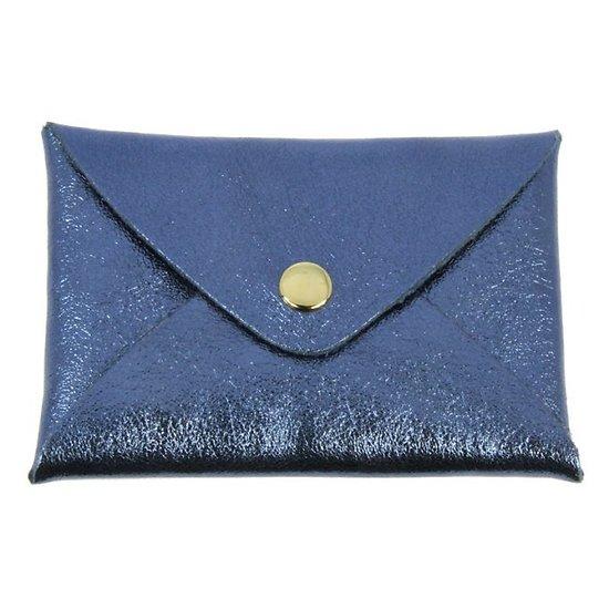 Porte cartes cuir irisé bleu nuit