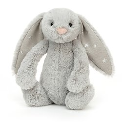 Peluche Jellycat gris clair – Bashful Shimmer Bunny – Small BASS6SHIM 18cm