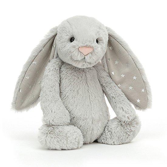 Peluche Jellycat gris clair  – Bashful Shimmer bunny – Medium BAS3SHIM 31cm