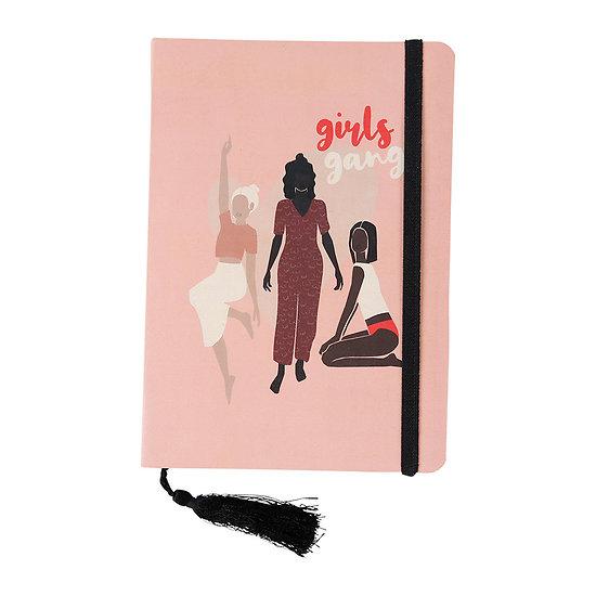 Petit cahier avec élastique et marque page pompon Girls Gang