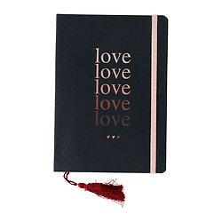 Petit cahier avec élastique et marque page pompon Love