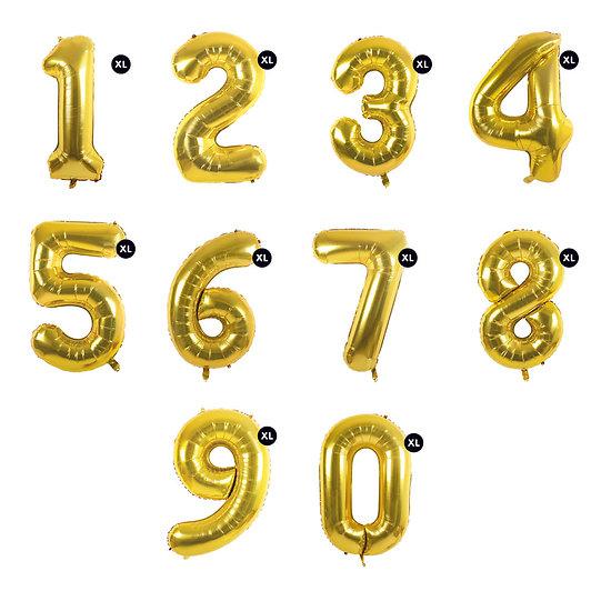 Ballon anniversaire chiffre aluminium doré XL - 86 cm