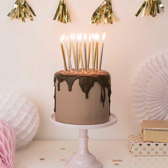 Bougie anniversaire Or et Argent - Lot de 16