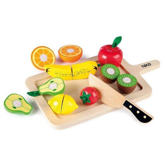Jouet dinette en bois - Fruits et planche à découper