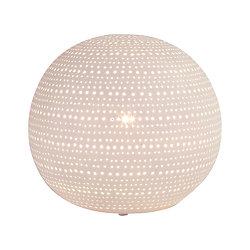 Lampe boule porcelaine blanche décorative ajourée à poser - Point