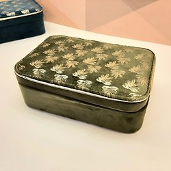 Boite bijoux brodée flaural gold kaki - Sema