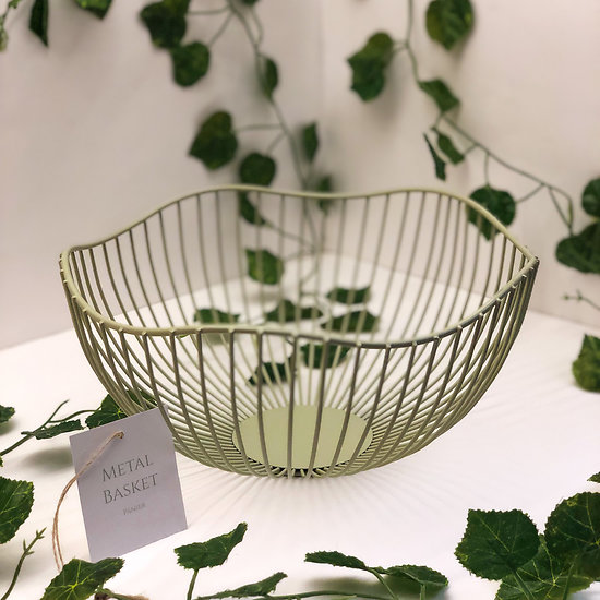Panier à fruit scandinave métal filaire Vert