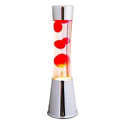 Lampe à lave 40 cm - Chrome - Liquide tranparent & Lave Rouge