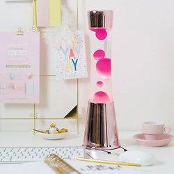 Lampe à lave 40 cm - Rose gold - Liquide Transparent & Lave Magenta