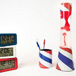 Lampe à lave 40 cm - Barber Shop - Liquide transparent & Lave rouge