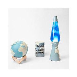 Lampe à lave fusée 40 cm - Carte du Monde - Liquide bleu & Lave blanche