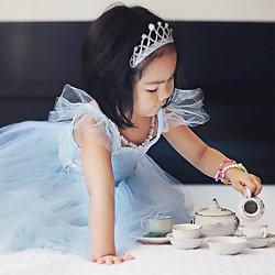 Déguisement fille Robe de Princesse Sequins Bleu