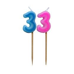 Bougie Chiffre 3 - Rose ou bleu