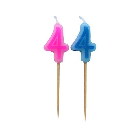 Bougie Chiffre 4 - Rose ou bleu