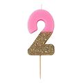 Bougie anniversaire chiffre rose et paillette