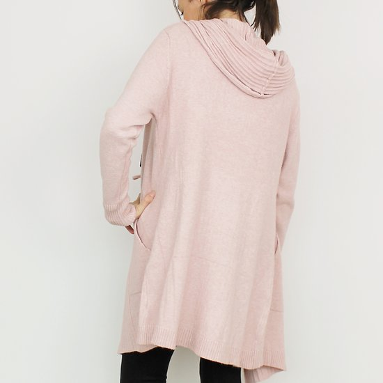 Gilet long laine   cachemire Rose - Tenue Cocooning - Cocoony b8535c0ebe18