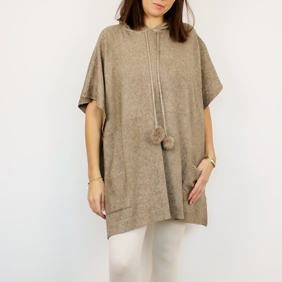 Poncho laine & cachemire Taupe