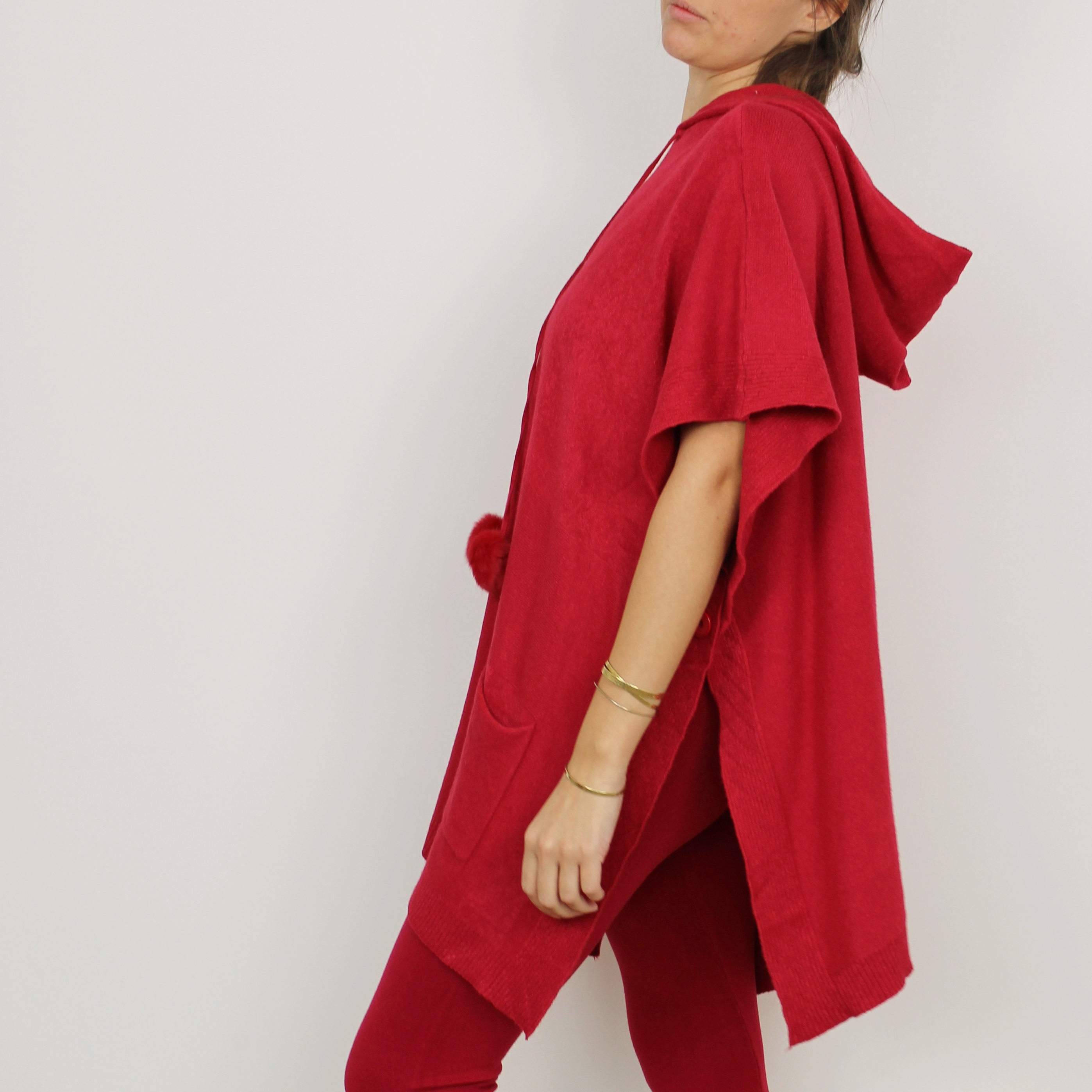 Poncho Cocooning laine   cachemire Rouge - Homewear Femme - Cocoony 828572d91b94