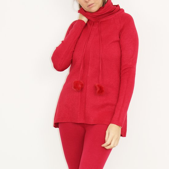 Pull Cocooning laine & cachemire Rouge