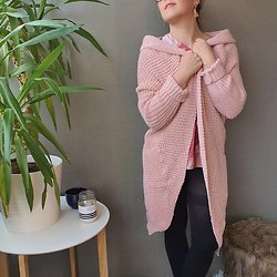 Gilet loose destructuré en Laine Rose