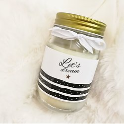 "Bougie Mason Jar Parfumée ""Let's Dream"" Vanille"