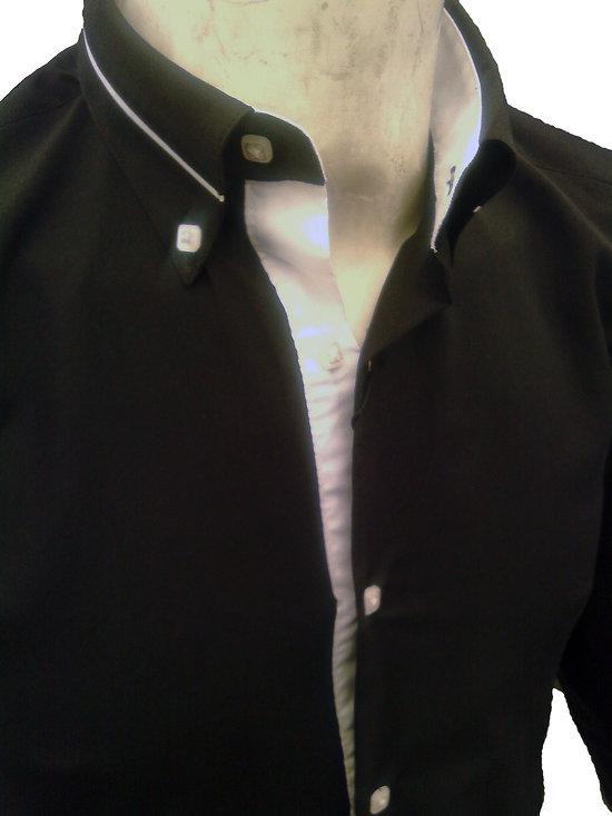 Chemise slim fit noire et blanche pour homme