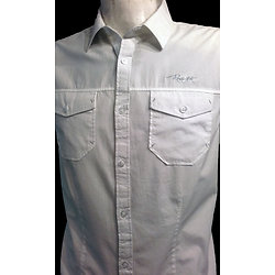 Chemise blanche  2 poches a manches courtes homme