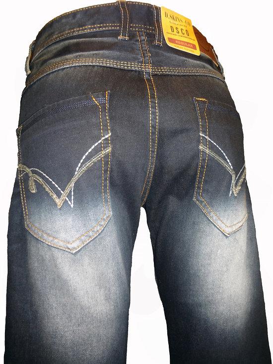 Jeans bleu foncé effet délavé pour homme mode