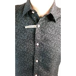 Chemises slim fit manches courtes bleues marine à motifs pour homme