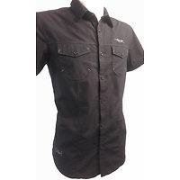Chemise noire 2 poches à manches courtes homme