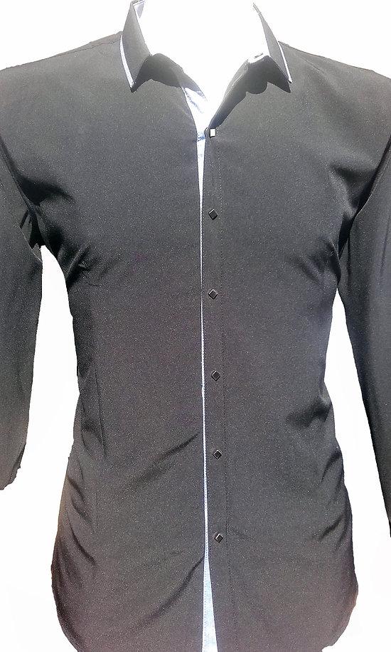 Belles Chemises en soie micro fibres noires pour homme