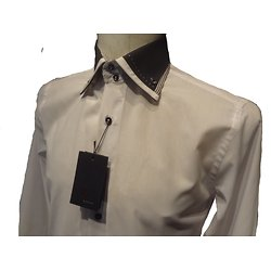 Chemise homme blanche col noir