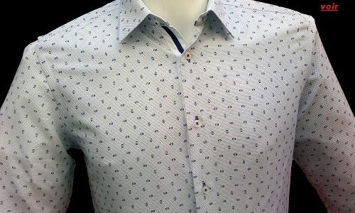 chemise blanche a motifs pour homme