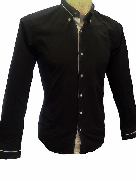 chemise italienne noire originale pour homme. Black Bedroom Furniture Sets. Home Design Ideas