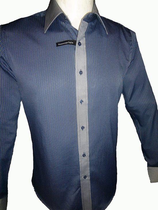chemise a rayure bleue 100 coton repassage facile slim fit pour homme. Black Bedroom Furniture Sets. Home Design Ideas