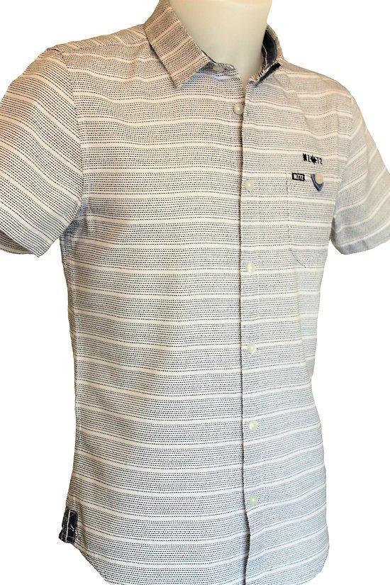 Chemise manches courtes blanche à rayures bleues pour homme