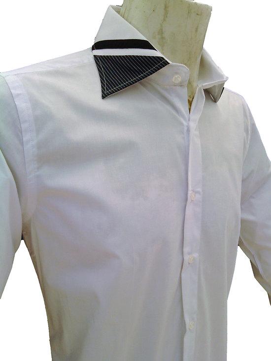 Chemise blanche col original pour homme