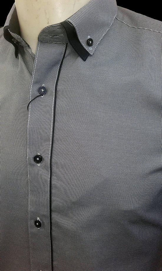 Chemise grise à petit carreaux pour homme