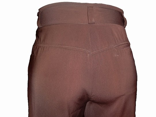 Pantalon marron sans pince en microfibre homme