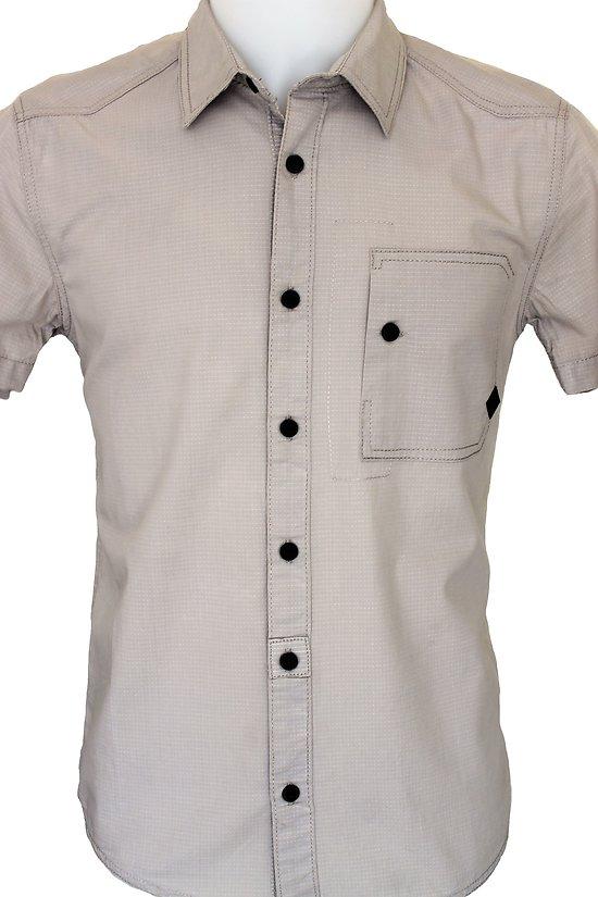 chemisette homme grise en coton avec poche