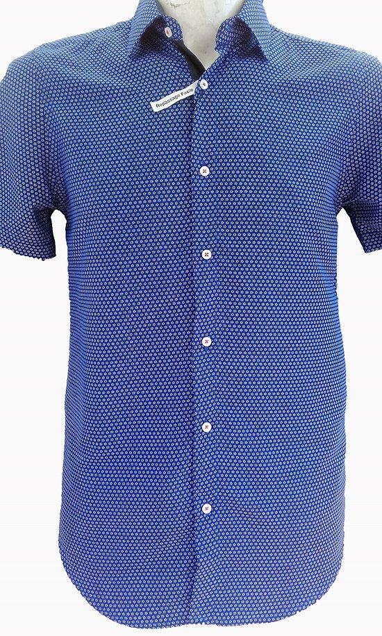 Chemisette slim fit bleue à motifs pour homme