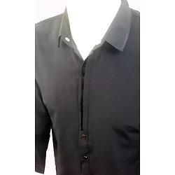 Chemises en soie micro fibres noires pour homme