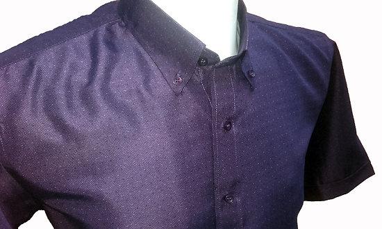 Chemisette violette col boutonné forme droite homme