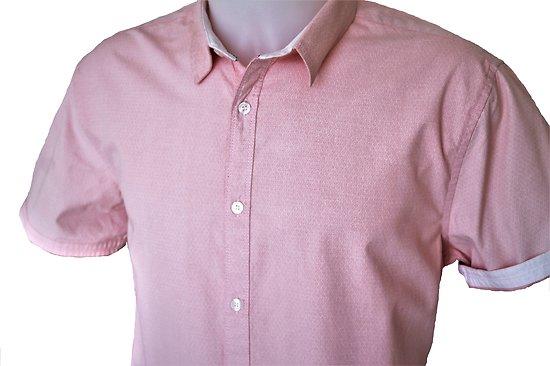 chemise homme manches courtes d'été rose