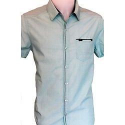 chemisette homme verte manches courtes d'été
