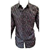 Chemise noire et rose 1 poche pour homme