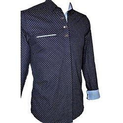 Chemise mode bleue foncé homme
